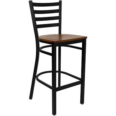 Flash Furniture Hercules Black Ladder Back Metal Restaurant Bar Stool