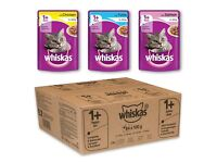 BNIB Whiskas Mixed Selection in Jelly Wet Cat Food Pouches 84 pk. Flavours: Chicken, Tuna & Salmon
