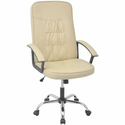 Vidaxl Executive Swivel Computer Desk Pu Leather High Back Office Chair Cream