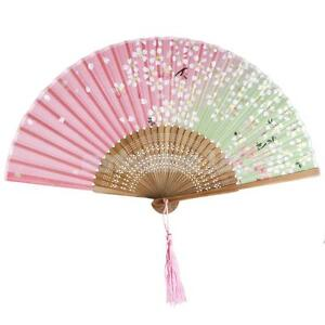 Japanese Style Women Pink White Silk Bamboo Folding Hand Fan Kabuki Prop