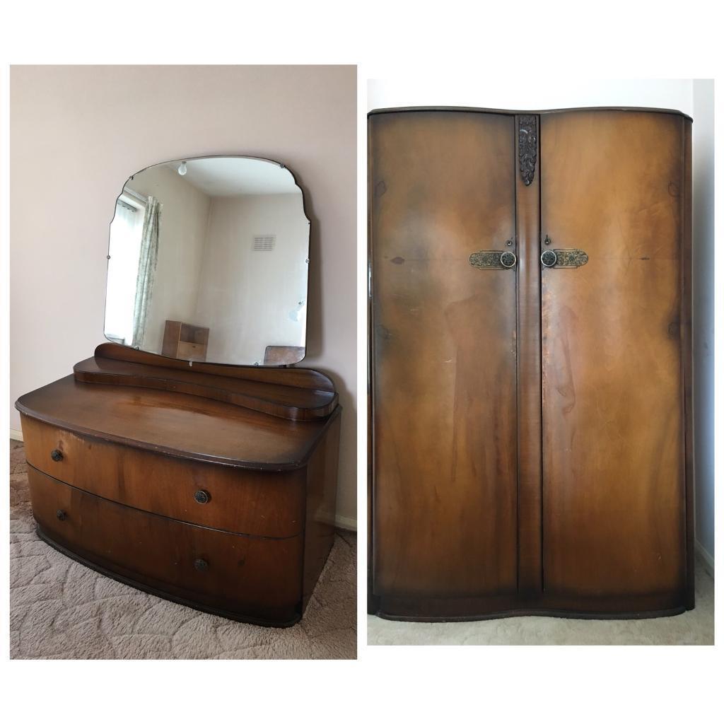 Retro/Vintage 1960s mirror dresser and wardrobe