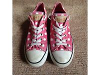 Converse Pink with White Spots Size 6