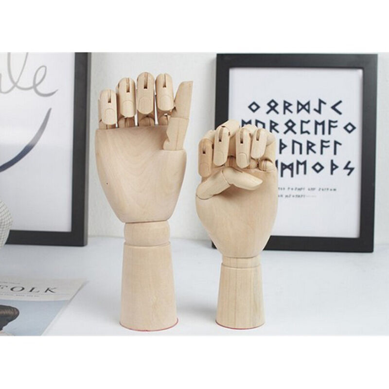 2pcs 18cm 25cm Jointed Wood Hand Mannequin Human Hand Model Jewelry Stand Rack