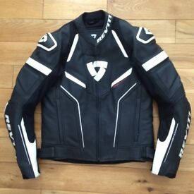 Rev it Replica Leather Jacket eur 50 = uk 40 Revit motorcycle motorbike gear black
