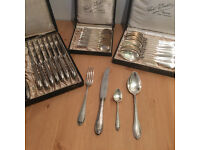 Silver plate 8 person dining set