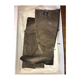 Aldo grey leather long boot.