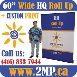 60' Wide Retractable Banner Stand Trade Show Back Wall Backdrop Pop Up Display + Custom Printed Graphics by www.2MP.ca