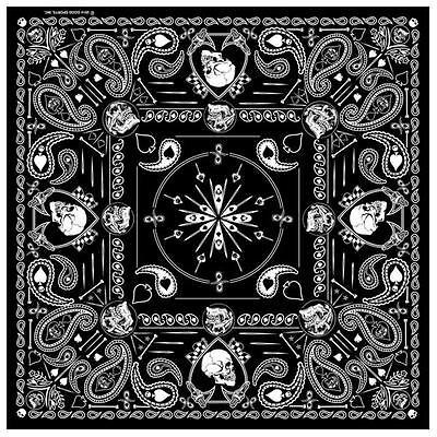 Black And White Bandanas (DELUXE BLACK WHITE PAISLEY SPADE SKULLS BANDANA 21
