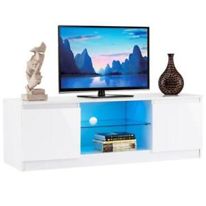 High Gloss TV Stand Unit Cabinet Media Console Furniture w/ LED Shelves White - BRAND NEW - FREE SHIPPING