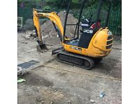 Jcb mini digger with dumper, for hire with driver.