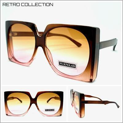 OVERSIZED EXAGGERATED VINTAGE RETRO Style SUN GLASSES Square Brown & Pink (Brown Square Glasses)