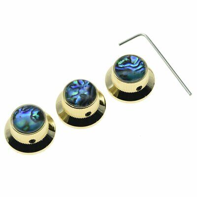 *NEW CONTROL KNOBS for Fender Stratocaster Strat 6mm Guitar Parts Gold + Abalone