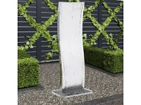 Garden Fountain with Pump Stainless Steel 130 cm Curved-48089