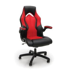 New Essentials Racing Style Leather Gaming Chair - Ergonomic Swivel Computer, Red, PICKUP ONLY - DI2