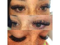 Volume and classic eyelash extensions