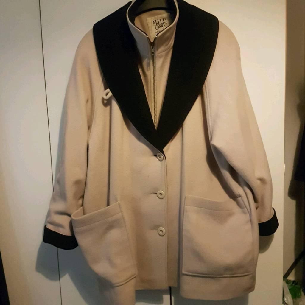 Ladies cream & black trim wool coat size 16
