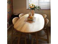 Retro 1950s style oak wood dining table L180cm x W90cm