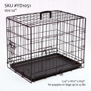 We Retail & Ship ... NEW Dog Crate, Double-Door Folding Metal Cage, w/ plastic pan & divider, 4 sizes