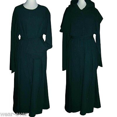 Mittelalter Kleid Grün (Mittelalter GEWANDUNG KLEID 3teilig Überwurf Kutte Mönch Heilerin grün neu 5065)