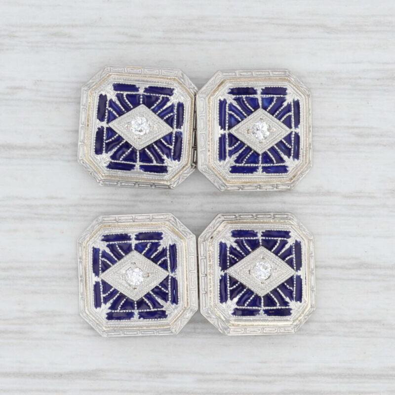 Antique Diamond Blue Enamel Cufflinks 14k White Gold Platinum Men