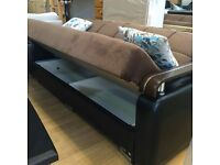 ** DISCOUNTED OFFER ** NEW Italian Style LARGE 3 SEATER SOFA BED + LARGE STORAGE + SAME DAY DROP