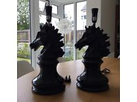 Black High Gloss Horse Head Lamps