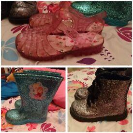 Three pairs girls shoes