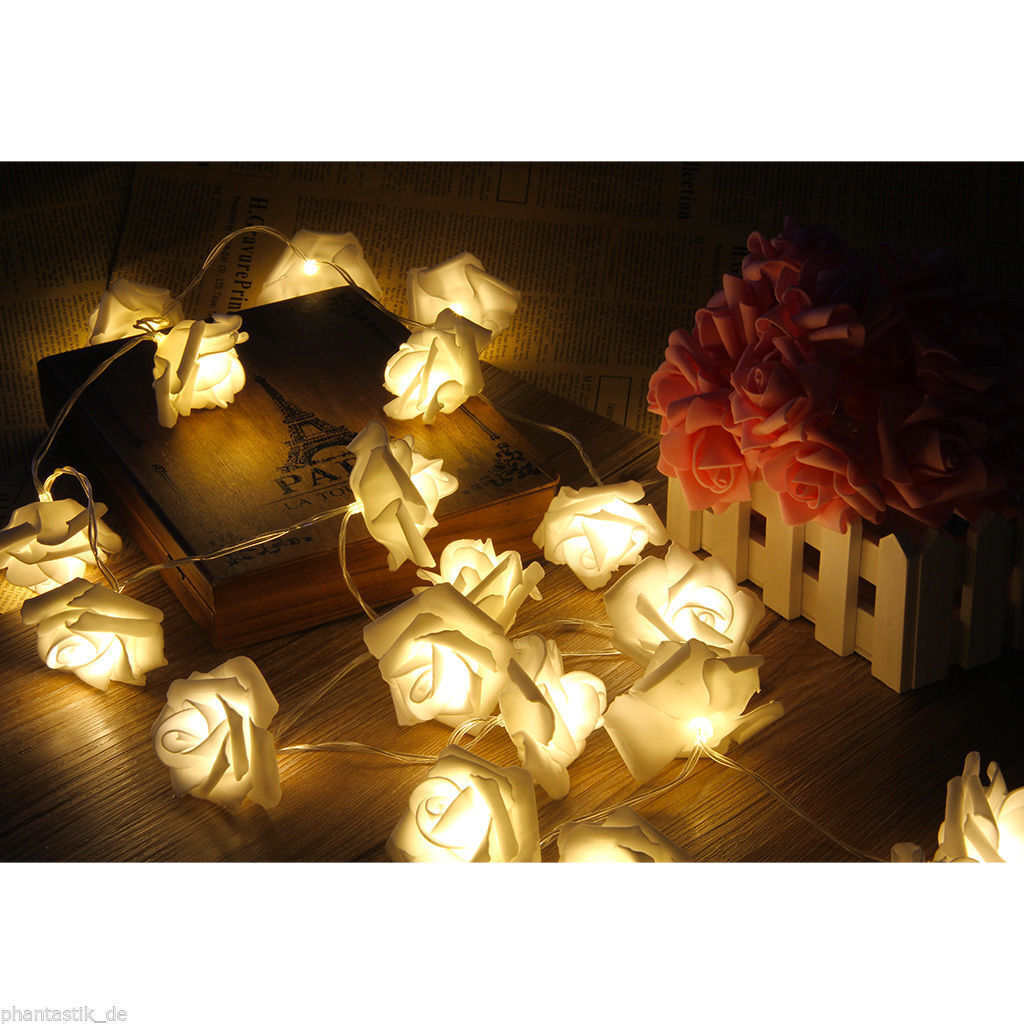 20 LED String Rose Flower Fairy Lights Indoor Christmas