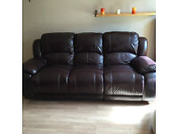 Brown 3 Seater Recliner Leather Sofa