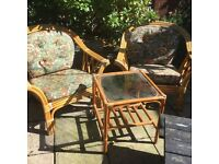 Wicker conservatory chairs and side table
