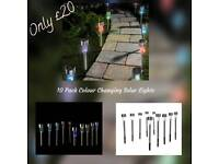 10 Solar Colour Changing Garden/Path Lights