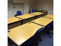 1800mm straight desks oak reduced price