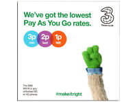 Details about Three 3G/4G PAYG SIM FREE, 12GB Mobile Broadband Data Plus £65 Preloaded Credit!