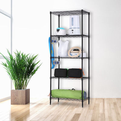5 Tier Level Heavy Duty Storage Wire Shelving Rack Steel Shelf Unit Adjustable