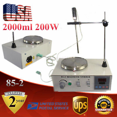85-2 Heating Magnetic Stirrer W Digital Thermostat Hot Plate 2000ml 200w Usa