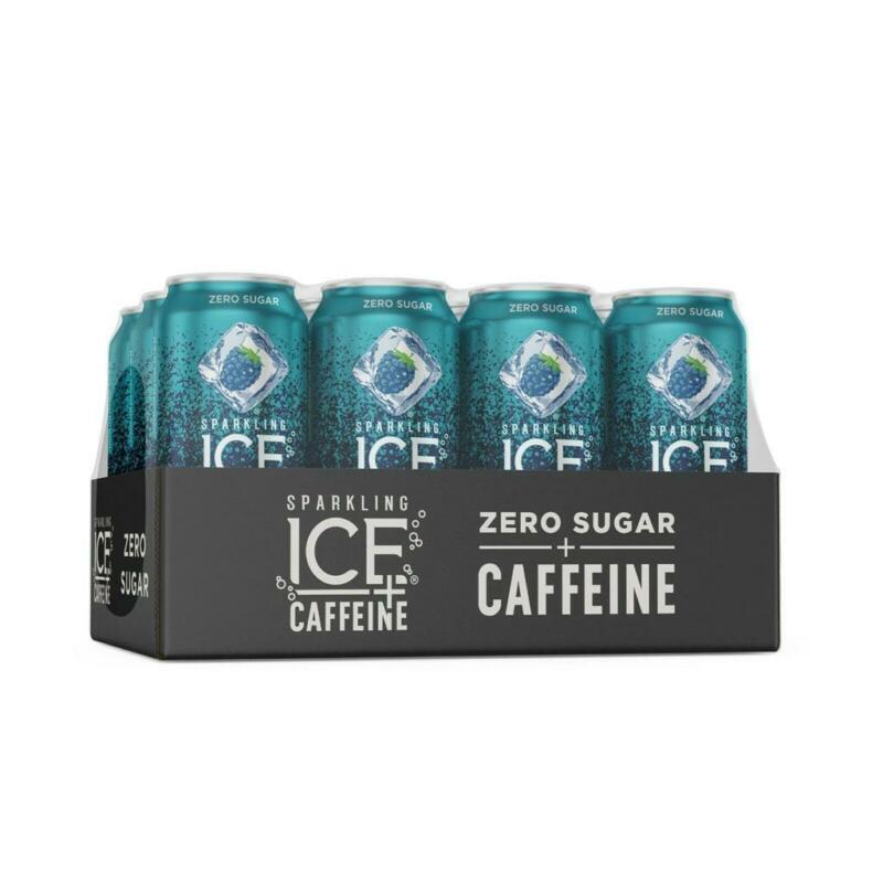 Sparkling Ice +Caffeine Blue Raspberry Sparkling Water 16 Fl Oz , 12 Pack