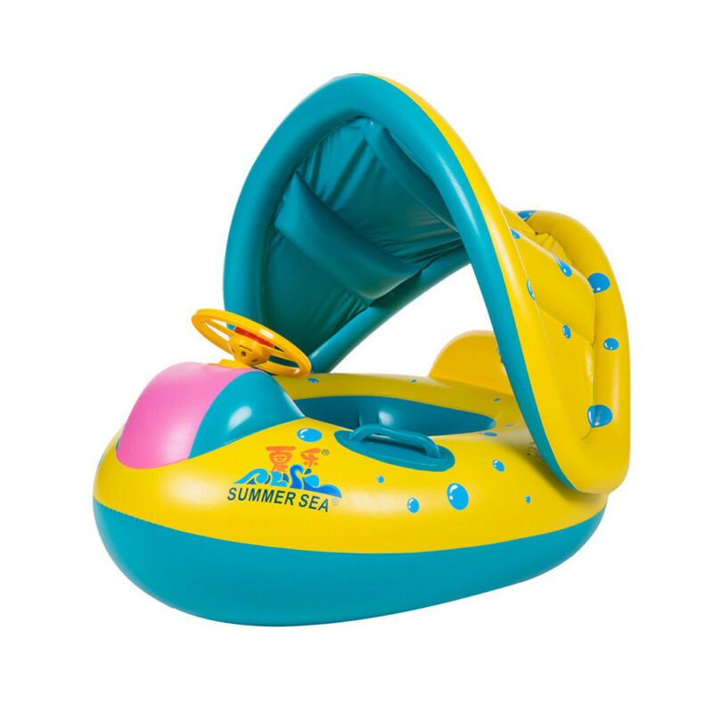 Baby Float Swimming Ring Inflatable Sunshade Swimming Boat S