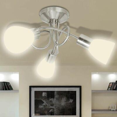 vidaXL Lámpara de Techo Moderna E14 con 3 Tulipas Metal Cristal Gris...