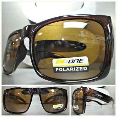 Herren Sportlich Wrap Polarisiert Sonnenbrille Braune Rahmen Gelbe Gläser Brille