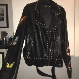Missguided leather jacket with studs and badges