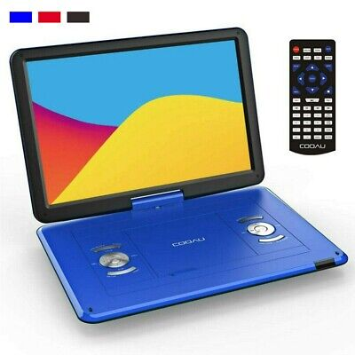 """17""""Portable DVD Player CD Card HD 16:9 LCD Large Swivel Screen Rechargeable USB"""