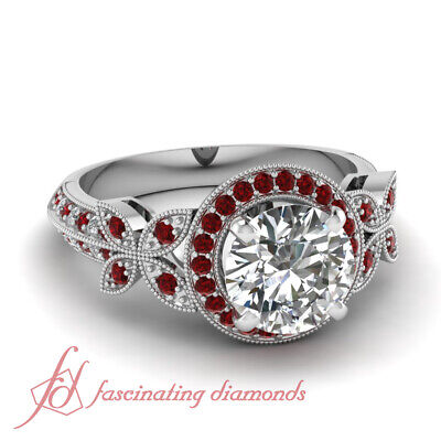 1 Carat Round Cut Diamond And Ruby Butterfly Halo Engagement Ring GIA Certified