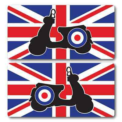 Scooter Union Jack Flag Laminated Stickers x2 200x100mm Vespa decals