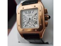 Black Leather Cartier Santos With White And Rose Gold Casing Comes Cartier Boxed With Paperwork