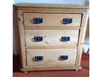 Vintage small pine chest of drawers