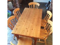 Second hand Yesterday's pine table and chairs