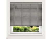 DESWIN Basswood Blinds - Wooden Blind - W140 x L175 cm - GREY - with 50mm Slats from FSC Wood