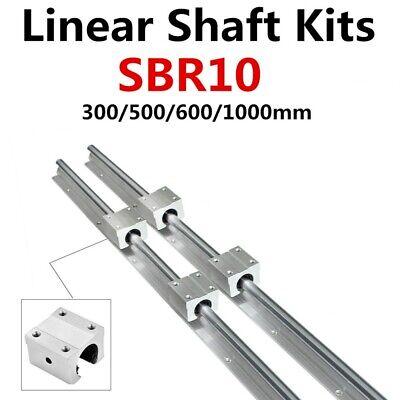 Sbr10 L300-1000mm 2pcs Linear Rail Fully Support Shaft Rod 4x Sbr10uu Block Cnc