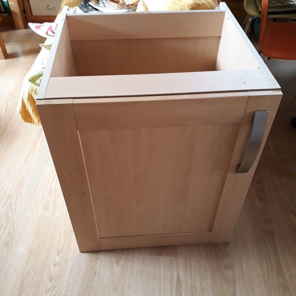 Captivating Kitchen Cabinet, 60cm Wide, Pale Wood Finish U0026 Steel Coloured Handle  (secondhand)