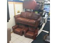 3 1 1 seater sofa in brown leather ( cheap at this money )